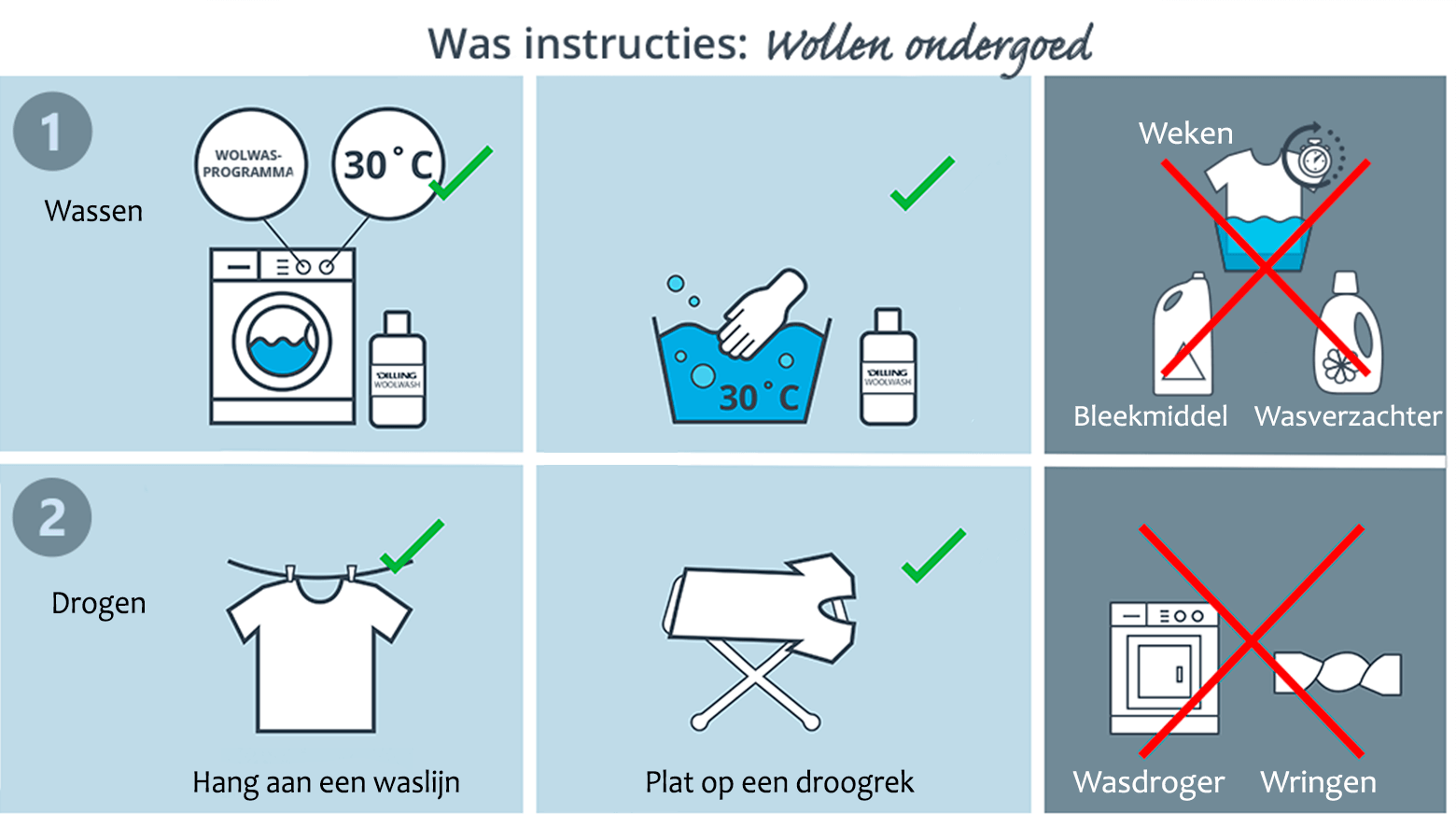 Was instructies wollen ondergoed