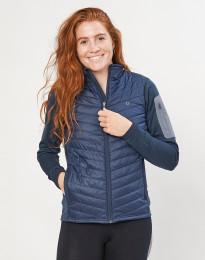 Hybride jas met ritssluiting voor dames - merino/gerecycled polyester donkerblauw