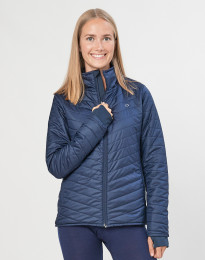 Outdoor jas met ritssluiting voor dames - merino/gerecycled polyester donkerblauw