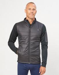 Hybride jas met ritssluiting voor heren - merino/gerecycled polyester zwart
