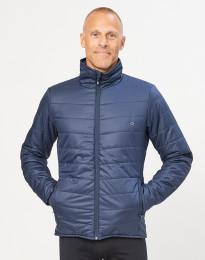Outdoor jas met ritssluiting voor heren - merino/gerecycled polyester donkerblauw
