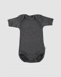 Baby romper met korte mouwen - bio merinowol donkergrijs melange