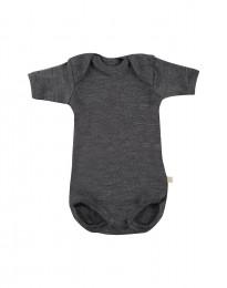 Baby romper met korte mouwen - bio merinowol donker grijs melange