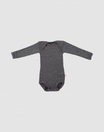 Baby romper met lange mouwen - bio merinowol donkergrijs melange