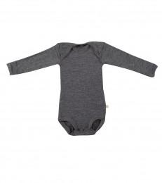 Baby romper met lange mouwen - bio merinowol donker grijs melange