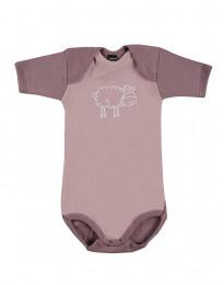Baby romper met korte mouwen - Bio Merinowol lichtroze