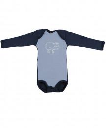 Baby romper met lange mouwen - Bio Merinowol lichtblauw