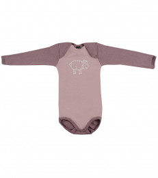 Baby romper met lange mouwen - Bio Merinowol lichtroze