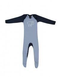 Baby romper met voetjes - Bio Merinowol lichtblauw