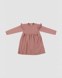 Wollen baby jurk met ruches - roze