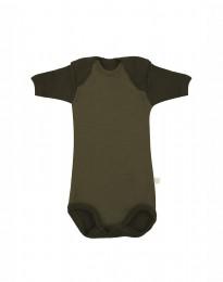 Baby romper met korte mouwen - BIO Merinowol Groen
