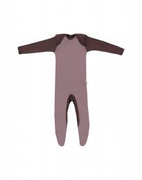 Merinowol baby kruippakje met voetjes Roze