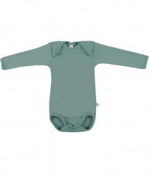 Baby romper met lange mouwen - BIO merinowol lichtgroen