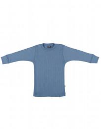 Geribde merino trui duifblauw