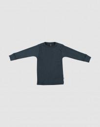 Merino trui breed geribd donker petrolblauw