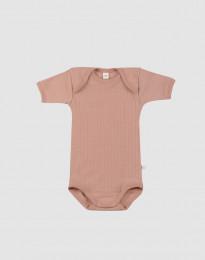 Baby romper met korte mouwen - merino wol donker beige