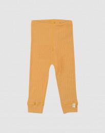 Geribde merino legging voor baby's geel