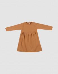 Geribde wollen jurk voor baby's Karamel