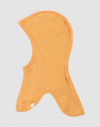 Ribgebreide kinder bivakmuts geel