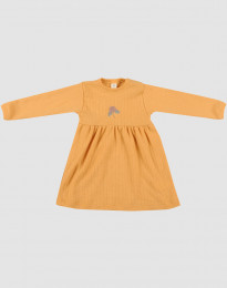Geribde wollen jurk voor baby's geel