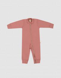 Baby romper van wollen terry donker roze