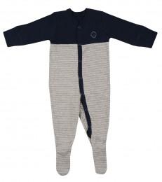 Baby romper met voetjes van bio katoen marineblauw/gestreept