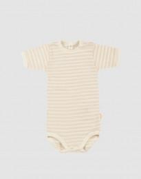 Baby romper met korte mouwen van biologische wol/zijde - beige/crème