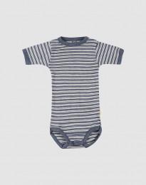Baby romper met korte mouwen van biologische wol en zijde blauw melange/natuur