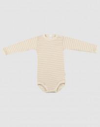 Baby romper met lange mouwen van wol en zijde beige/natuur