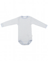 Baby romper met lange mouwen van wol en zijde blauw/natuur