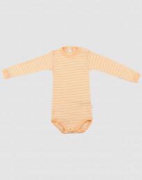 Baby romper met lange mouwen van wol en zijde abrikoos/natuur