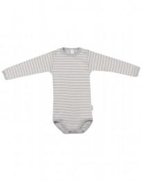 Baby romper met lange mouwen van wol en zijde grijs/natuur