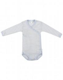 Baby wikkelromper van zachte wol en zijde blauw/natuur