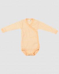 Baby wikkelromper van zachte wol en zijde abrikoos/natuur