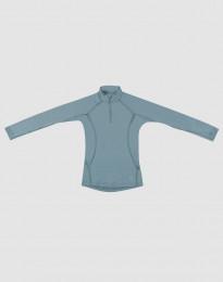 Kinder trui met rits gemaakt van exclusieve merinowol mineraalblauw