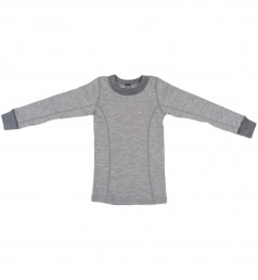 Merinos shirt met lange mouwen voor kinderen grijs melange