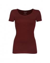 Katoenen dames t-shirt bordeauxrood