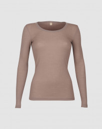 Geribd damesshirt van merino wol oudroze