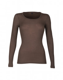 Geribd damesshirt van merino wol kastanjebruin