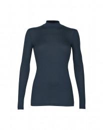 Geribde merino dames trui met hoge kraag midnachtsblauw