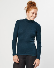 Geribde merino dames trui met hoge kraag Donker petrolblauw