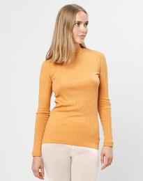 Geribde merino trui met kraag geel