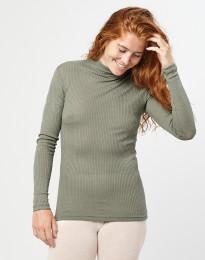 Geribde merino dames trui met hoge kraag olijfgroen