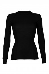 Merino shirt met hoge hals zwart