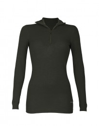 Merino dames shirt met ritssluiting donkergroen