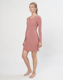 Merino nachthemd met lange mouwen Donker roze