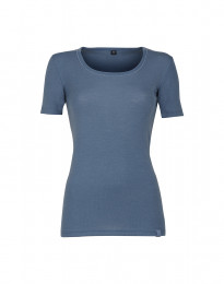 Merino dames T-shirt duifblauw