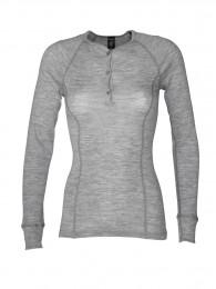 Merinos dames shirt met lange mouwen grijs