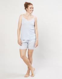 Dames pyjama shorts van biologische wol en zijde lichtblauw