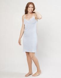Dames nachthemd van biologische wol en zijde lichtblauw